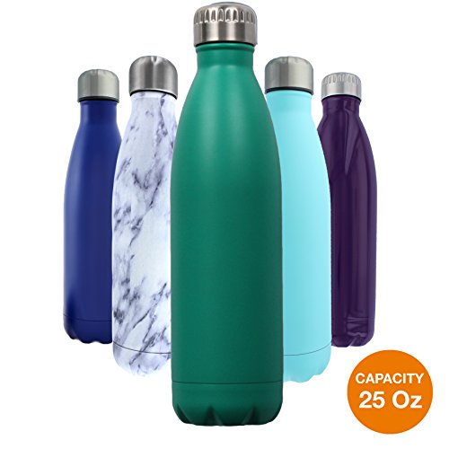 Cola Ceramic (Double Walled Stainless Steel Water Bottle. Top Gift for Mom Dad or Friends. Best for Cold or Hot Drinks. BPA Free (Green Gift 25)