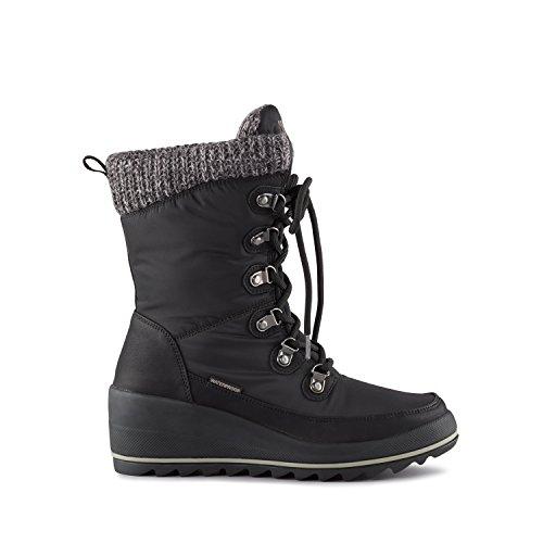 Cougar Women's Layne Wedge Snow Boot,Black Visage Nylon,US 7 M (Boots Wedge Shaft Women)