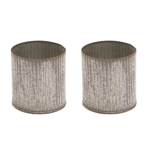 Decorative Tin Vase (Set of 2) 3.25 x 3.25 Inch Corrugated Metal Pot - Small Planter (Planter Tin Pots)