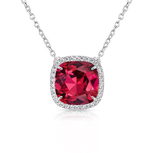 Necklace Made with Square Swarovski Crystal for Women and Girls,Ruby (July Birthstone) ()