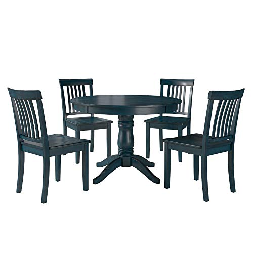 (MattsGlobal Rubberwood Finish Lexington 5-Piece Dining Set with Round Table and 4 Mission Back Chairs- Durable for Years of Use. (Dark Denim))
