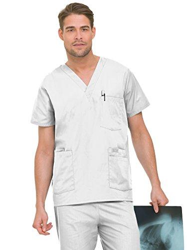 Landau Men's 5-Pocket Locker Loop V-Neck Scrub Top, White, X-Large (Uniformes Para Enfermeras)