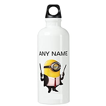 05daa31d5c Funny Minion With Gun Personalised Name Aluminium Water Drinks Bottle White  Gift: Amazon.co.uk: Sports & Outdoors