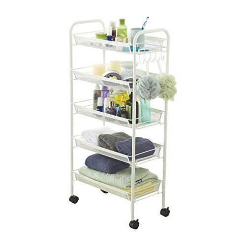 HollyHOME Sturdy 5-Tier Mesh Rolling Cart with Extra 5 Hooks, Easy Storage and Move Steel Utility Serving Rack in Bathroom Kitchen or Office, White Island Mini Frame