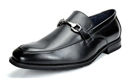 (Bruno Marc Men's Charter-3 Black Leather Lined Dress Loafers Shoes - 13 M US)