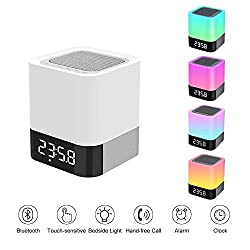 Night Light with Bluetooth Speakers, Dadiii Touch Sensor Bedside Lamp, Changing Color, 12/24H Digital Calendar Alarm Clock Best Gift for Kids Adults (7 Colors Light Modes, Four Time Modes)