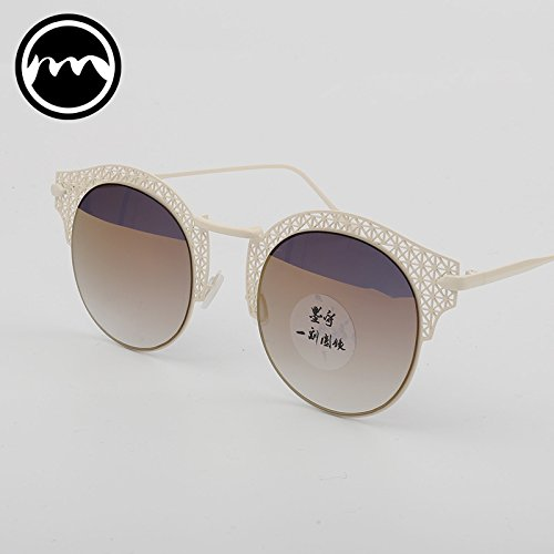 Metal Glasses Vviiyj Blanco White Frame Sol negro Lace Reflectantes De Hollow Gafas Round Half wz5qwg