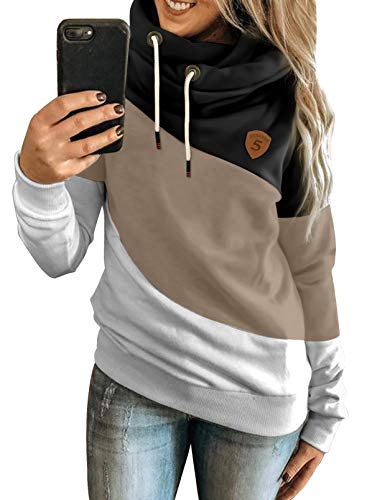 Happy Sailed Damen Warm Rollkragen Kapuzenpullover Farbblock Pullover Sweatshirt Casual Hoodie Shirt S-XXXL