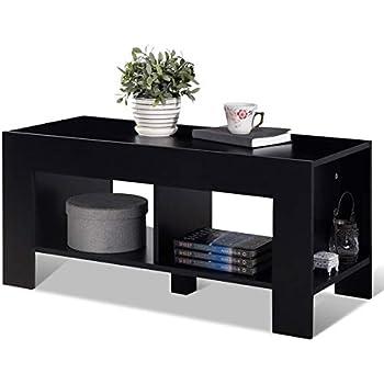 Amazon.com: Ketteb - Mesa de café de 2 niveles con estante ...