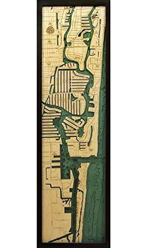 Woodchart FLAU-D3N Ft. Lauderdale Wood Carved Nautical Chart, 13.5 X 43