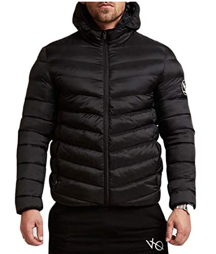 TTYLLMAO Men's Puffer Down Coats Ultralight Packable Hooded Down Jacket Black