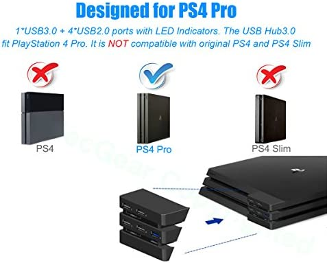 USB Hub for PS4 Pro - ElecGear Central de Expansión de 5-Puertos 3.0 Adaptadores Cargador with Indicador LED for Playstation 4 Pro