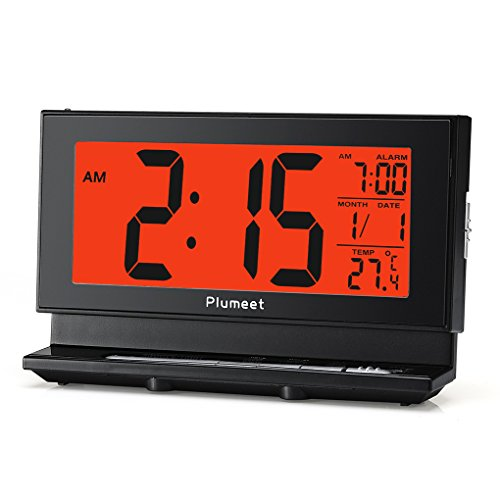 Plumeet Digital Alarm Clock with Auto-Night Light & Temperature, Snooze, Large LCD Numbers, Simple Setting, Battery Operated Only (Black)