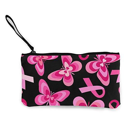 Canvas Cash Coin Purse,Ribbon Pink Butterfly Pattern Print Make Up Bag Zipper Small Purse Wallets