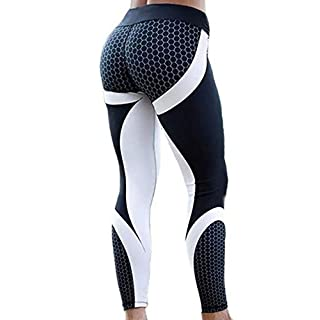 CFR Women's Printed Yoga Pants Gym Sport Workout Leggings High Waist Sexy Elastic Comfy Tights 1 Black White XL