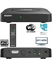 EDISION PING - OTT LINUX RECEIVER H265/HEVC zwart, Stalker, Xtream, WebTV, Media Player, Wi-Fi on Board, USB, HDMI, LAN, afstandsbediening 2-in-1