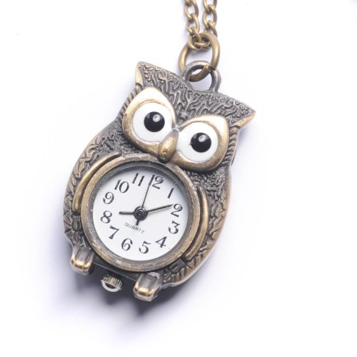 81stgeneration Women's Brass Vintage Style Owl Pocket Watch Chain Pendant Necklace, 78 cm by 81stgeneration