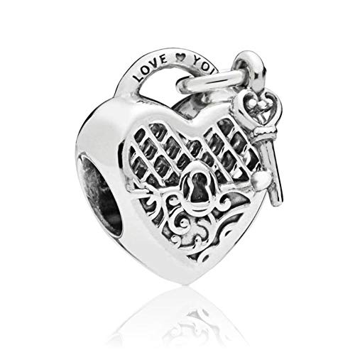 (Romántico Amor Love You Lock Sterling Silver Charm Key to My Heart Bead for Pandora Bracelets/White (White))