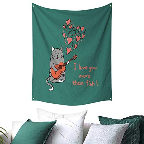 (Anshesix I Love You More Tapestry for Living Room Cat with Guitar More Than Fish Song Music Notes and Valentines Hearts Home Decor Couch Cover 57W x 74L INCH)