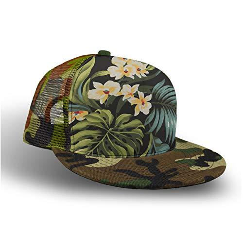Baseball Cap, Snapback Hat, Sun Hat, Trucker Cap for Kids Toddlers - Tropical Hawaiian Flowers, Hip Hop Flat Cap Dad Hat Plain Cap/Lightweight/Quick Dry, Camo Green