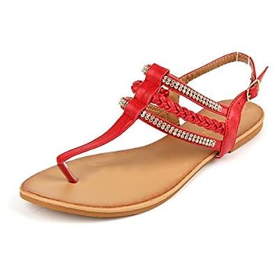 MuDan Women's Strappy Rhinestones Thong Buckle Strap Gladiator Flat Sandals…