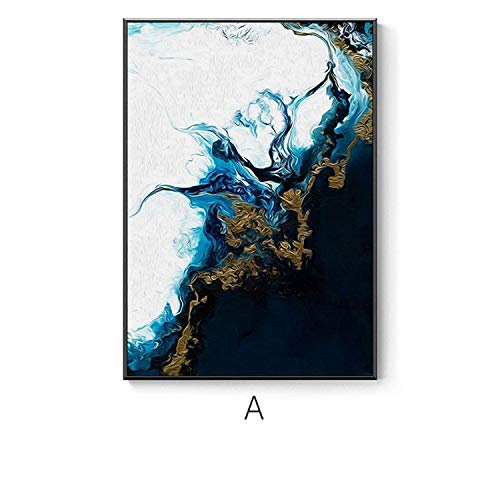 Wall Canvas Watercolor Splash Blue Gold Canvas Painting Abstract Posters and Prints Home Decoration Wall Art Picture for Nursery Baby Room,30X40Cm No Frame,No Frame 1