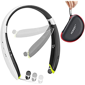 Hobest Foldable Bluetooth Headphones, Upgraded Wireless Bluetooth Headset Earphones with Mic, Noise Cancelling Neckband