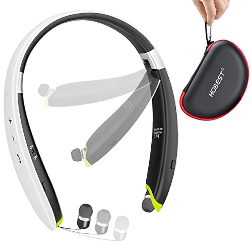 Hobest Foldable Bluetooth Headphones, Upgraded Wireless Bluetooth Headset Earphones with Mic, Noise Cancelling Neckband Sweatproof Sport Headphones with Retractable Earbuds—SX990