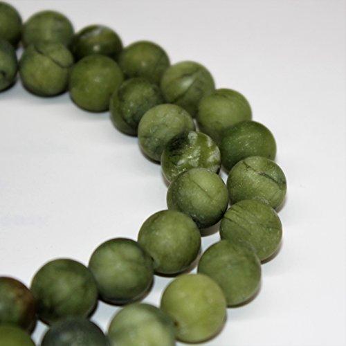 (Lynxus Matte Green Jade Loose Beads 8mm 46 Beads Per 15.5