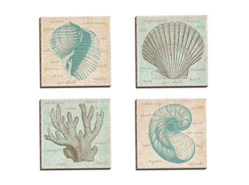 Portfolio Canvas Decor Framed and Stretched Ready to Hang Sea Study Coral Canvas Wall Art by Erin Clark (Set of 4), 12 x 12/Large