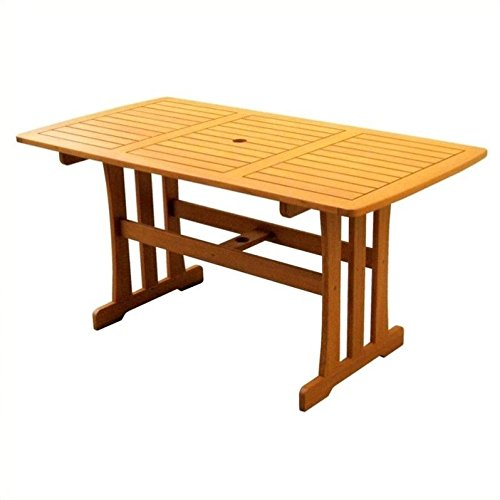International Caravan TT-RE-007-IC Furniture Piece Royal Tahiti Outdoor Wood Rectangular Dining Table Review