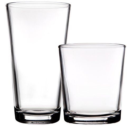 Highball Glassware Set (Palais Glassware 'Hendaye' Collection, Clear Glass Sets (Set of 8 - 4 17 OZ Highballs & 4 13 OZ DOF's, Clear))