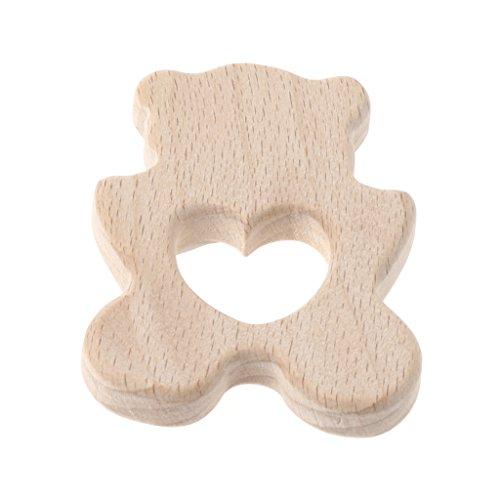 Baby Wooden Teething Relief Toy Nature Organic Polar Bear Nursing Holder Teether