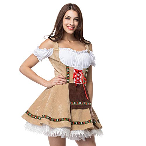 Shisay Women's Vintage Beer Festival Bavarian Short Sleeve Waitress Suit Cosplay Costume Plus Size Mini Dresses Yellow