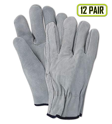 Magid Safety Roadmaster T350 Glove | Split Cow Leather Unlined Driver's Glove with Straight Thumb - Economical Grade, Slip On Cuff, Gunn Cut Pattern, XL, Gray (12 Pairs)