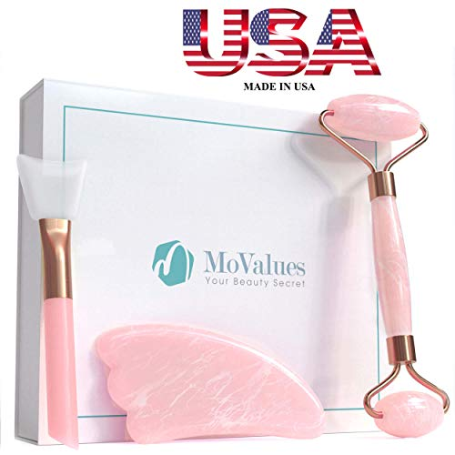 (Original Jade Roller for Face and Gua Sha Set - Rose Quartz Face Roller - Real 100% Jade - Face Massager for Wrinkles, Anti Aging - Authentic, Durable, Natural, No Squeaks - with Mask Brush)