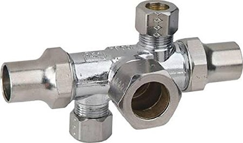 Lock Shield and Key Standard Plumbing Supply BrassCraft SCR1901DVX C 1//2 Nom Comp Inlet x 3//8 O.D x 3//8 O.D Comp Dual Outlet//Shut-Off Multi-Turn Angle Valve