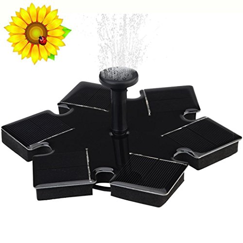 (LiPing Solar Water Fountain for Bird bath, Solar Fountain Water Pumps Freestanding Submersible for Small Pond,Fish Tank, Patio, Garden Decoration Solar Panel Water Pump Kit, Solar Pond Pump (D))