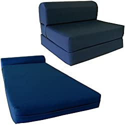 """D&D Futon Furniture Navy Sleeper Chair Folding Foam Bed Sized 6"""" Thick X 32"""" Wide X 70"""" Long, Studio Guest Foldable Chair Beds, Foam Sofa, Couch, High Density Foam 1.8 Pounds."""