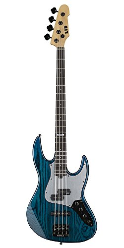 ESP Artist Series LPT4BLKAQ 4-String Bass Guitar, Black Aqua