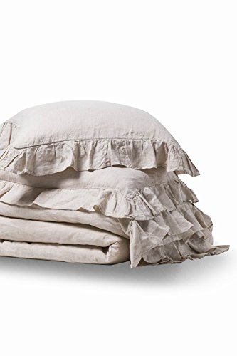 MEADOW PARK Stone Washed Linen Duvet Cover Set 3 Pieces, King Size 104
