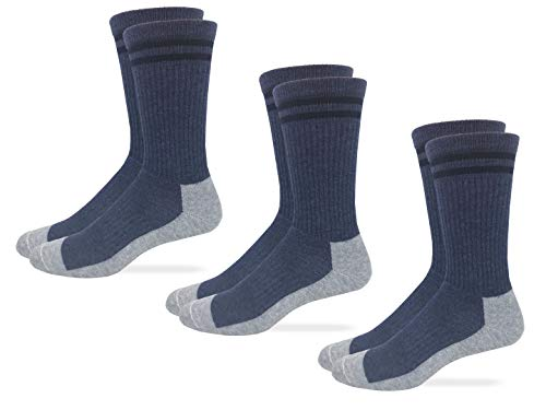 Carolina Ultimate Unisex Postal Uniform Full Cushion Seamless Toe Crew Socks 3 Pair Pack (Navy, Sock Size Medium)