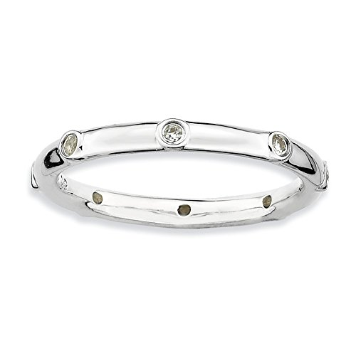 Size 7 White Topaz 2.25mm Studded Band Sterling Silver Stackable Expressions - Studded Band 2.25 Mm