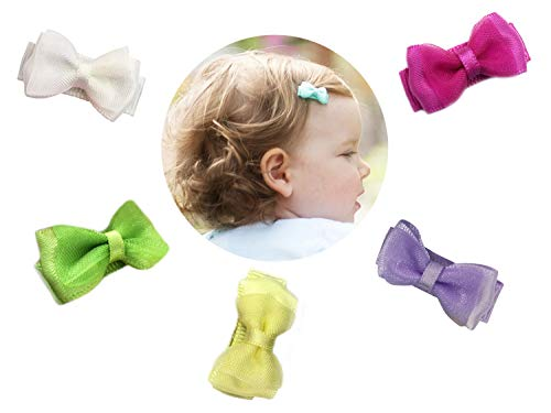 8c4b4da62f4f Baby Wisp 5 BABY BOWS Tiny Hairclip Satin Organza Hair Bows Baby Girls  Toddlers Infant Clips NEW BABY GIRL Gift Set