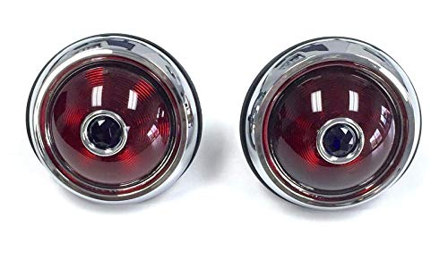 Hot Rod 1950 Pontiac Style Glass Lens Tail Lights with Blue Dots Pair Rat Rod ()