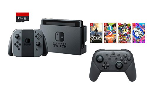 Nintendo Swtich 7 items Bundle:Nintendo Switch 32GB Console Gray Joy-con,64GB Sd Card Nintendo Switch Pro Wireless Controller,4 Game Disc1-2-Switch Just Dance2017 The Legend of Zelda Super Bomberman R