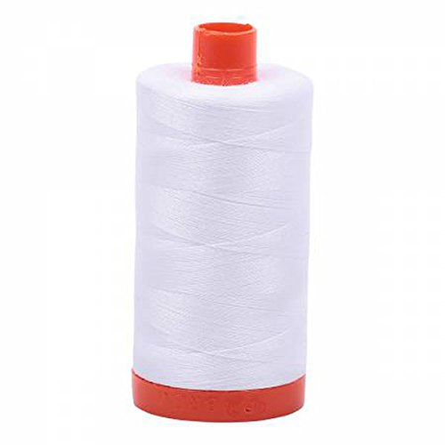 Aurifil A1050-2024 Mako Cotton Thread Solid 50WT 1422Yds White -