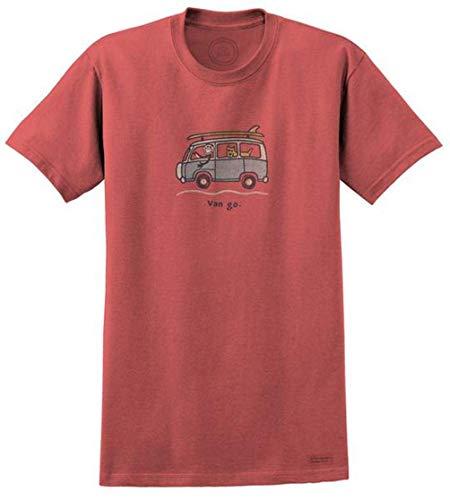 Life is Good VW Surf Van Go Men's T-Shirt, Barnyard Red (Life's Good)