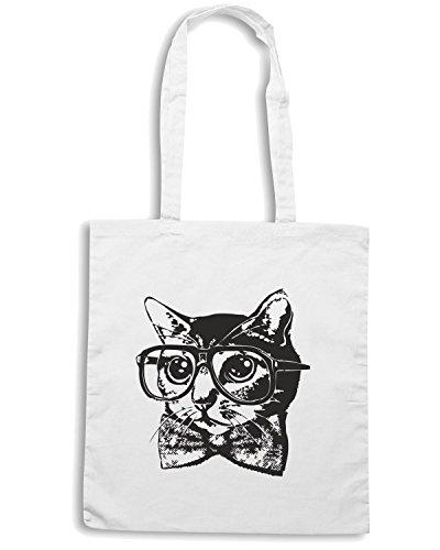 T-Shirtshock - Bolsa para la compra FUN0111 05 13 2013 Nerd Cat T SHIRT det Blanco