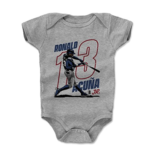 500 LEVEL Ronald Acuna Jr. Baby Clothes, Onesie, Creeper, Bodysuit 3-6 Months Heather Gray - Atlanta Baseball Baby Clothes - Ronald Acuna Jr. Power R